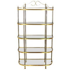 Italian Regency Brass and Brushed Steel, Five-Shelf Etagere