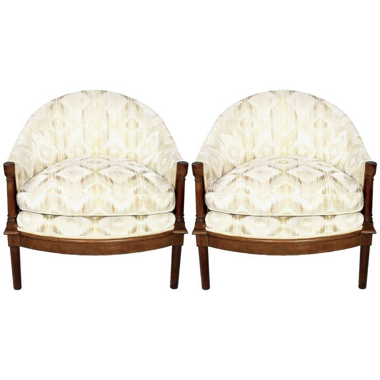 Pair Of Moroccan Inspired White And Cream Velvet Barrel Club Chairs 1