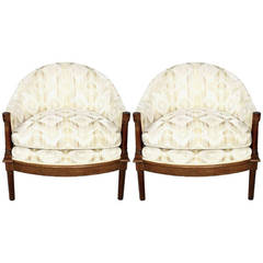 Pair of Moroccan Inspired White and Cream Velvet Barrel Club Chairs
