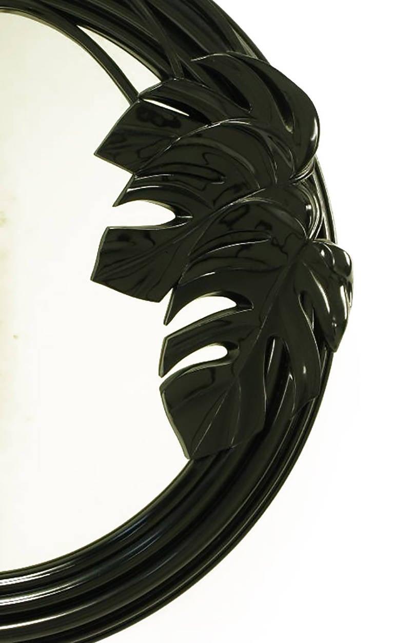 American Black Lacquer Art Deco Revival Foliate Round Mirror For Sale