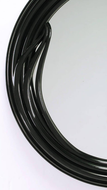 20th Century Black Lacquer Art Deco Revival Foliate Round Mirror For Sale