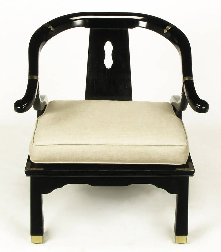 Pair Of Black Lacquer And Linen Asian Style Lounge Chairs 3