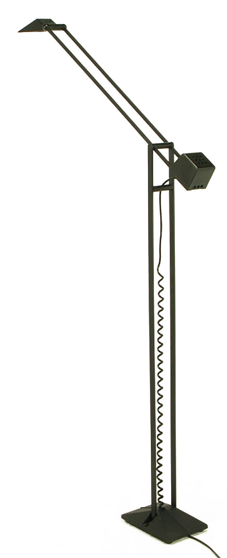 Black Cast Iron and Steel Articulated Floor Lamp by Artup In Good Condition For Sale In Chicago, IL