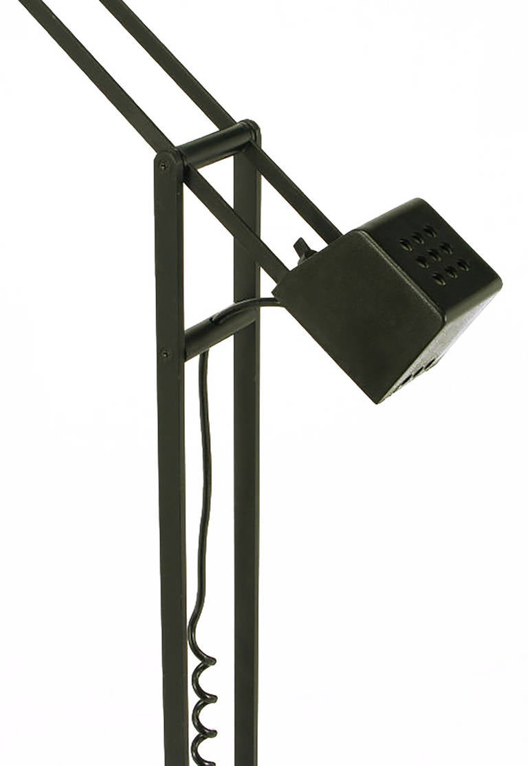 20th Century Black Cast Iron and Steel Articulated Floor Lamp by Artup For Sale