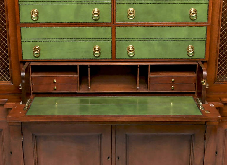 American Renzo Rutili Green Leather and Mahogany Breakfront Library Cabinet with Desk For Sale