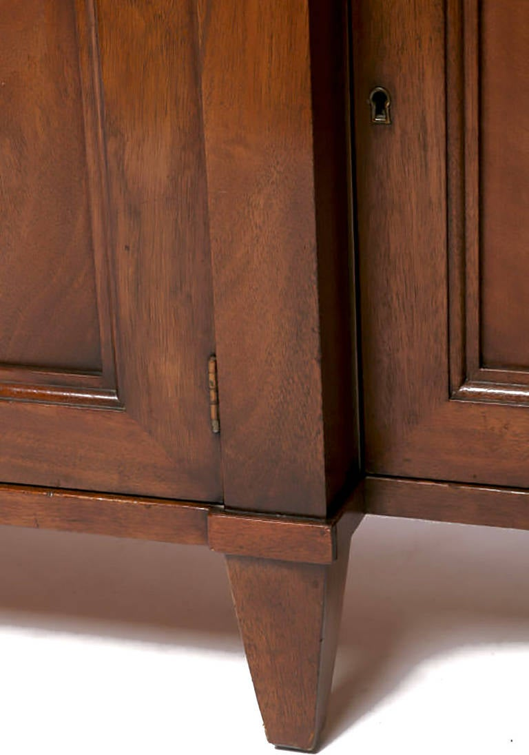 Renzo Rutili Green Leather and Mahogany Breakfront Library Cabinet with Desk For Sale 1