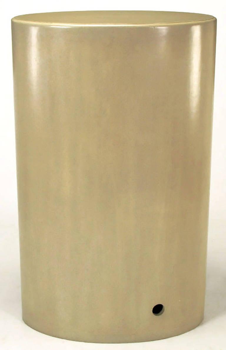 Custom Driftwood Grey Birch Oval Tall Cabinet For Sale 1