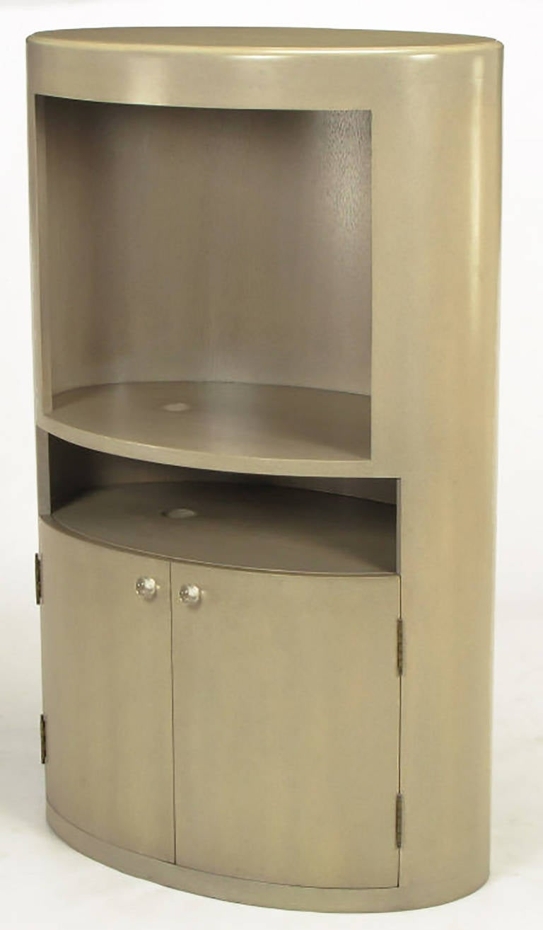 Custom Driftwood Grey Birch Oval Tall Cabinet In Excellent Condition For Sale In Chicago, IL
