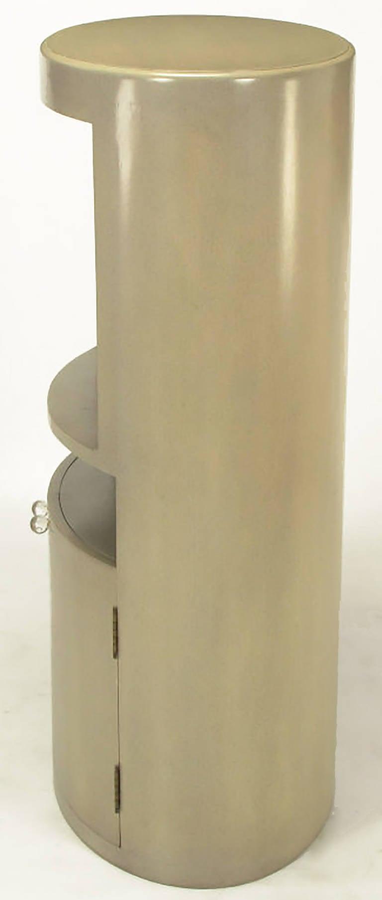 20th Century Custom Driftwood Grey Birch Oval Tall Cabinet For Sale