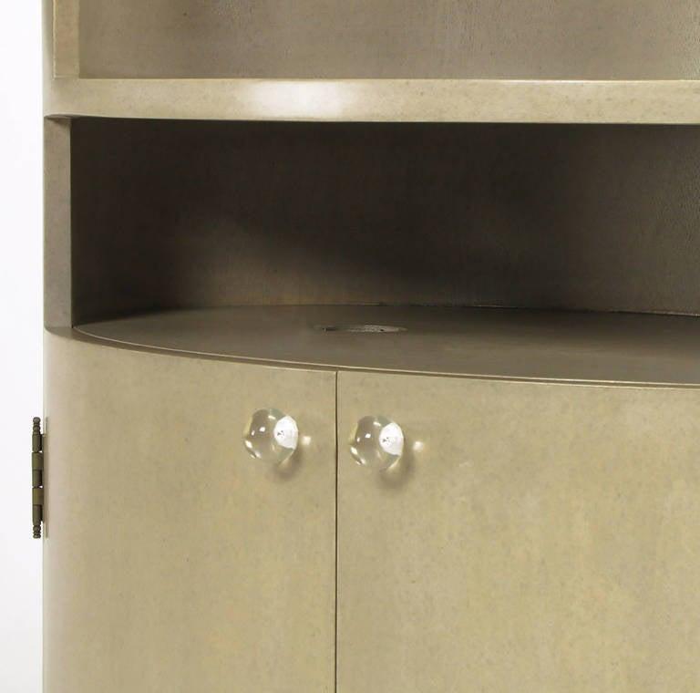Custom Driftwood Grey Birch Oval Tall Cabinet For Sale 2