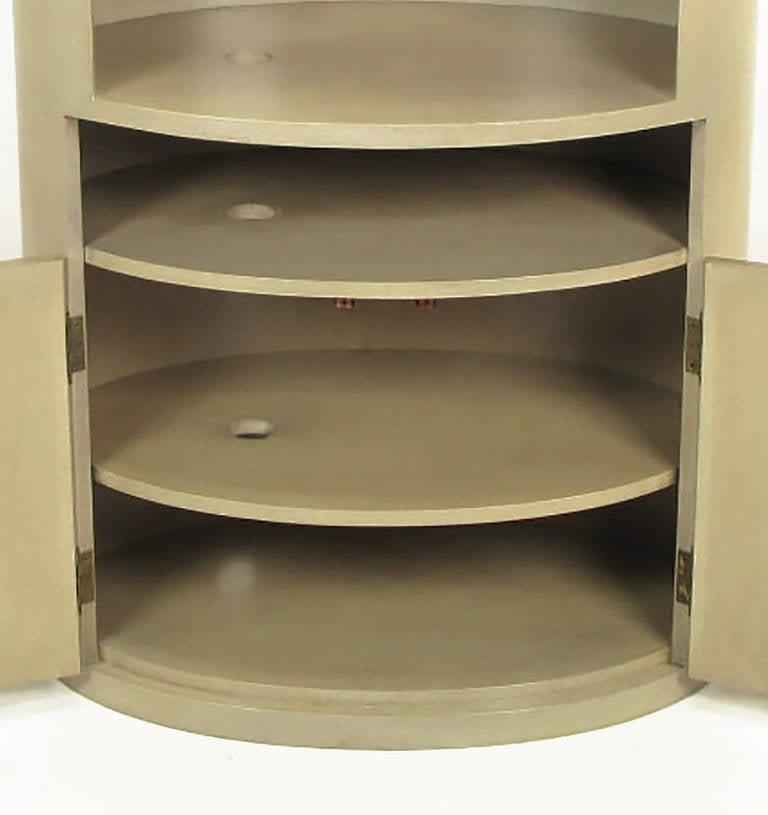 Custom Driftwood Grey Birch Oval Tall Cabinet For Sale 3