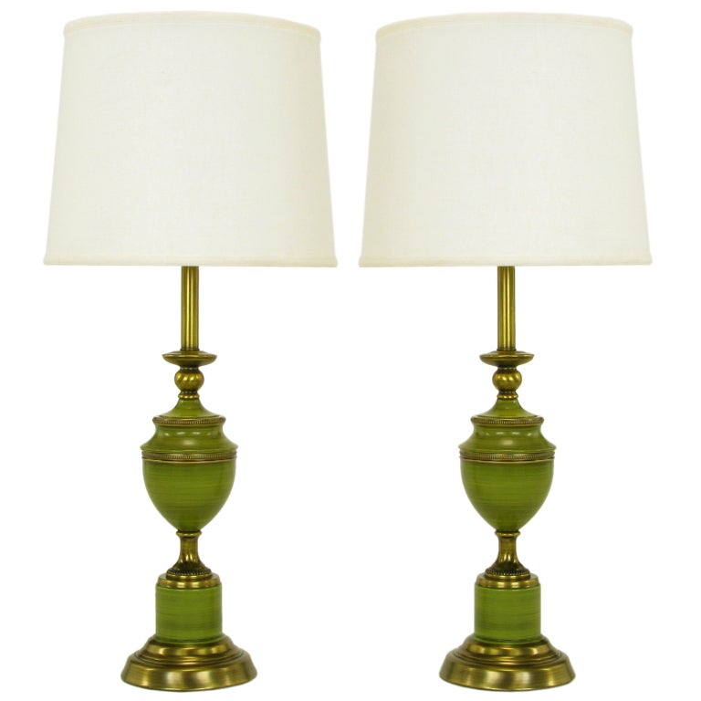 Pair Antiqued Brass And Green Lacquer Empire Style Table