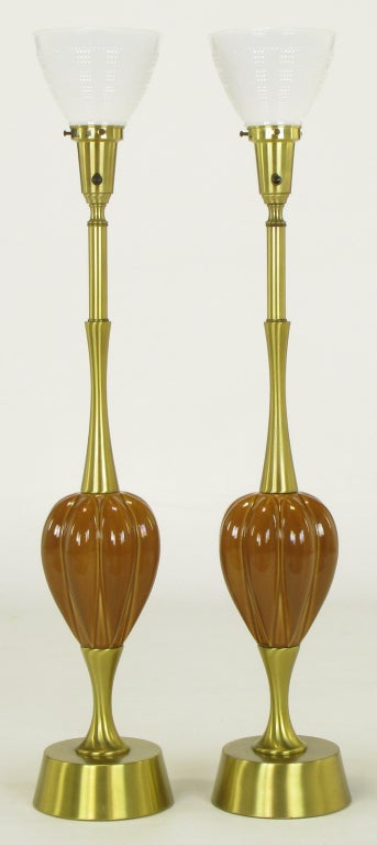 Pair Rembrandt Brass And Ceramic Umber Melon Table Lamps At 1stdibs