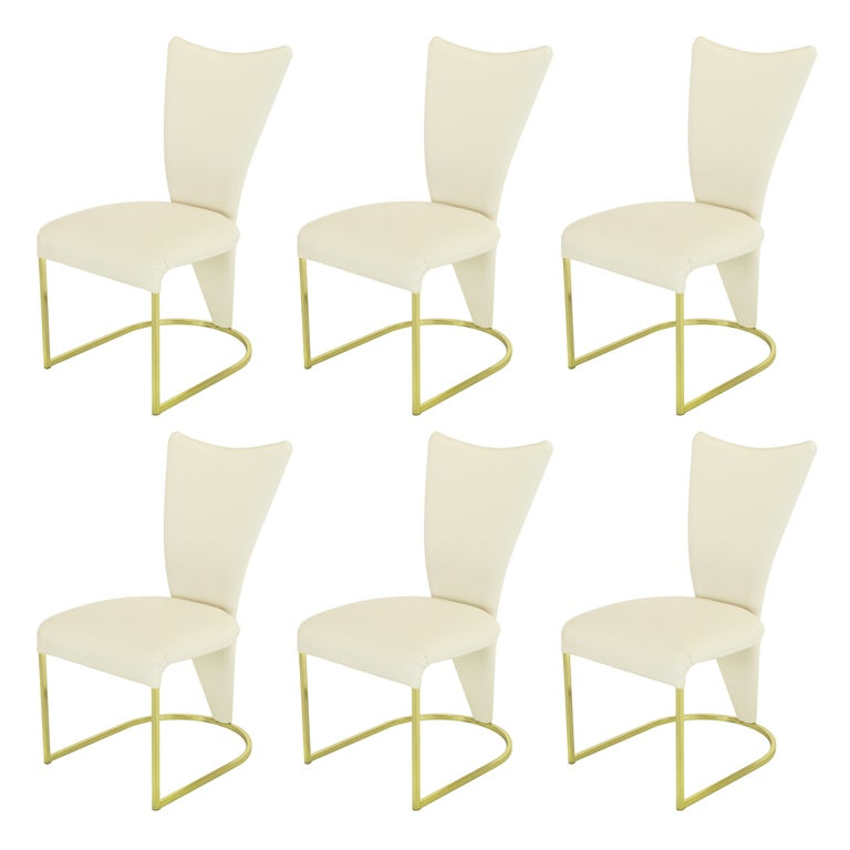 Six DIA Postmodern Brass and Wool DIning Chairs at 1stdibs