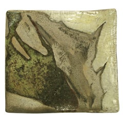 Abstract Glazed Studio Pottery Tray with Turned Corners