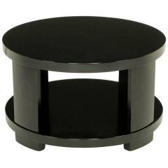 Round Two-Tier Ebonized Wood Coffee Table