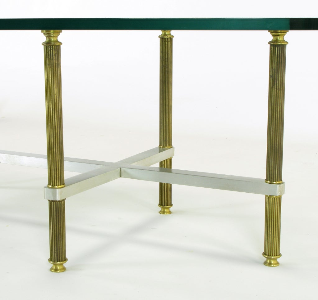 Reeded Brass & Brushed Aluminum Elliptical Coffee Table For Sale 5