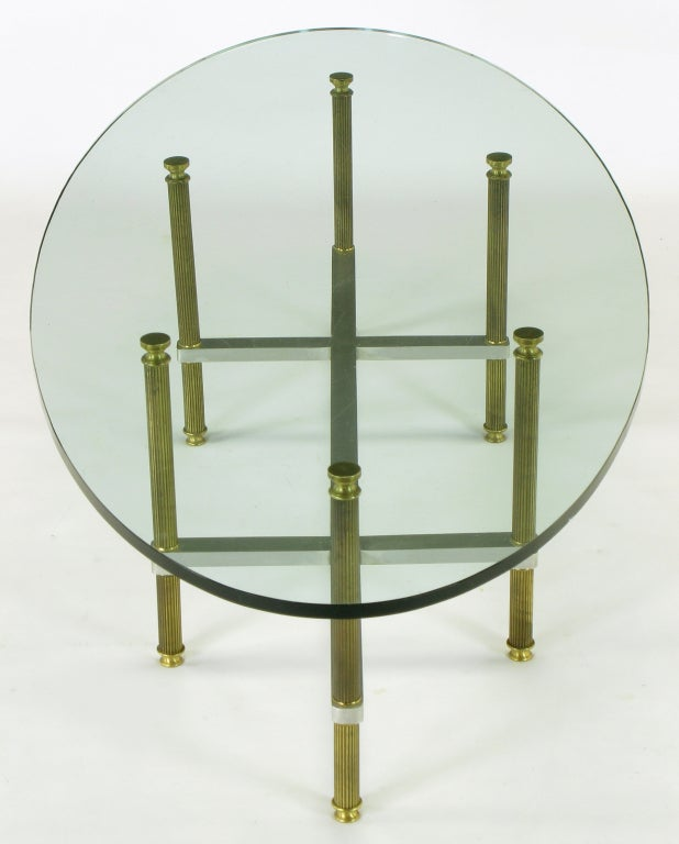 Reeded Brass & Brushed Aluminum Elliptical Coffee Table For Sale 2