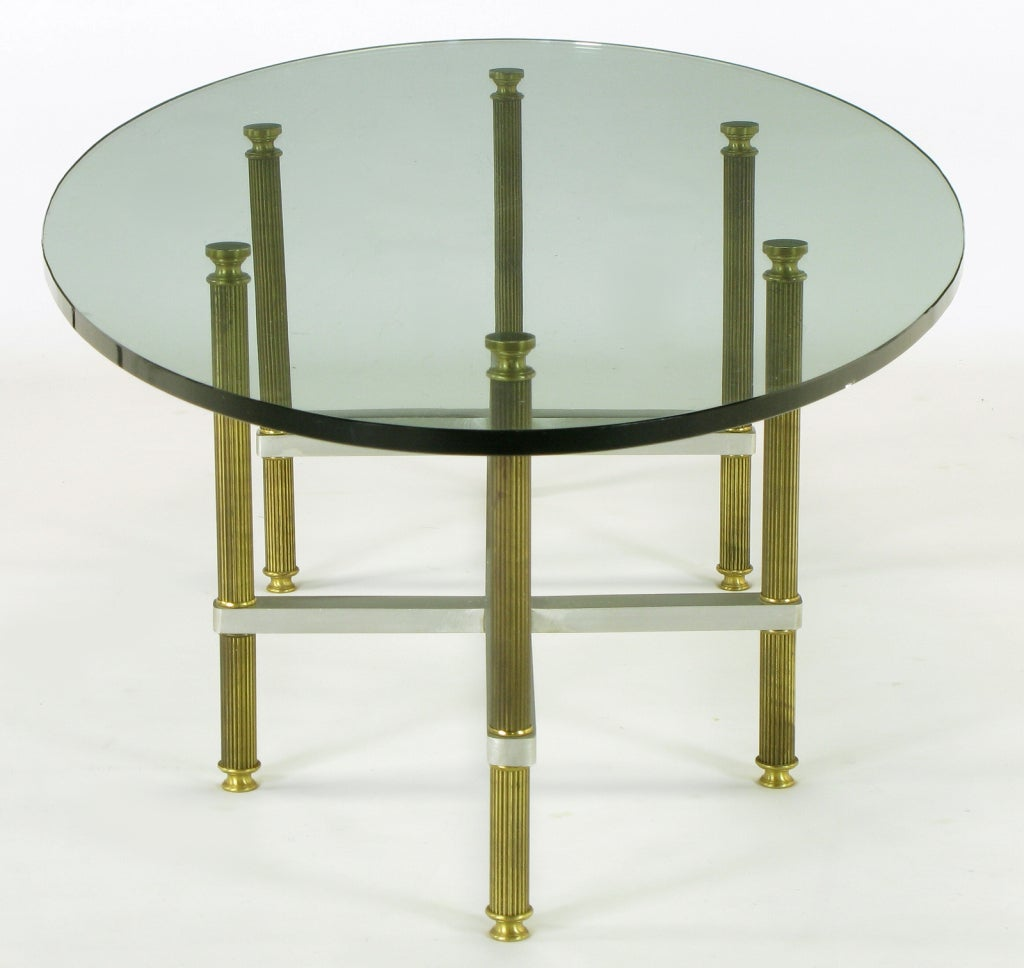 Reeded Brass & Brushed Aluminum Elliptical Coffee Table For Sale 3