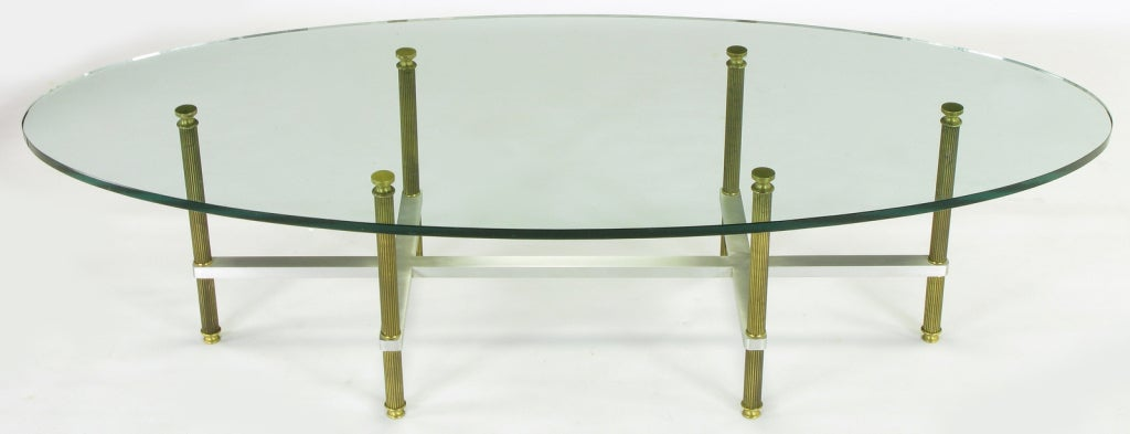 American Reeded Brass & Brushed Aluminum Elliptical Coffee Table For Sale