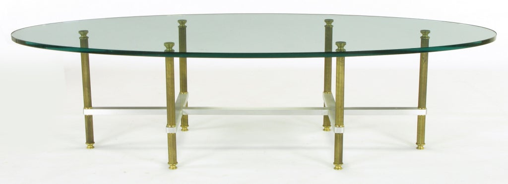20th Century Reeded Brass & Brushed Aluminum Elliptical Coffee Table For Sale