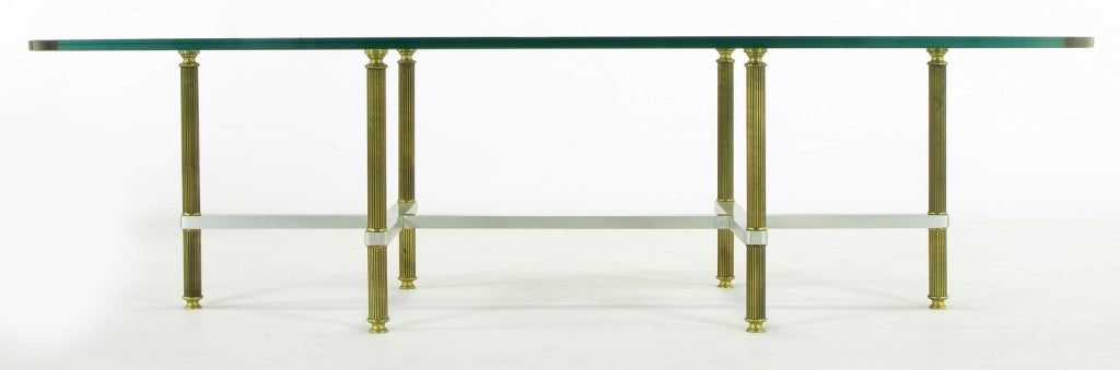 Glass Reeded Brass & Brushed Aluminum Elliptical Coffee Table For Sale