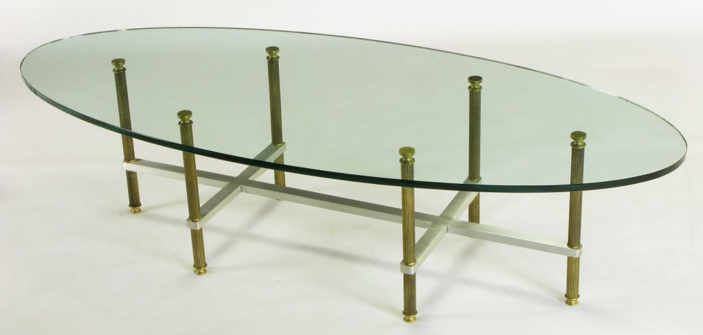 Reeded Brass & Brushed Aluminum Elliptical Coffee Table For Sale 1