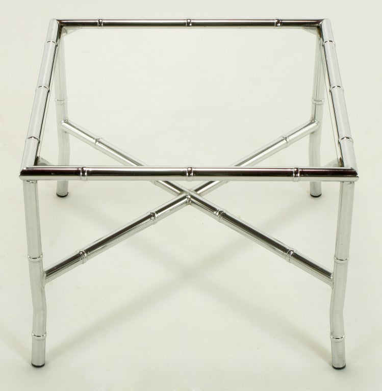 20th Century Pair of Chromed Steel Faux Bamboo X-Stretcher End Tables For Sale