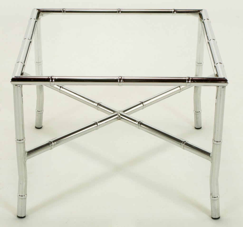 Glass Pair of Chromed Steel Faux Bamboo X-Stretcher End Tables For Sale