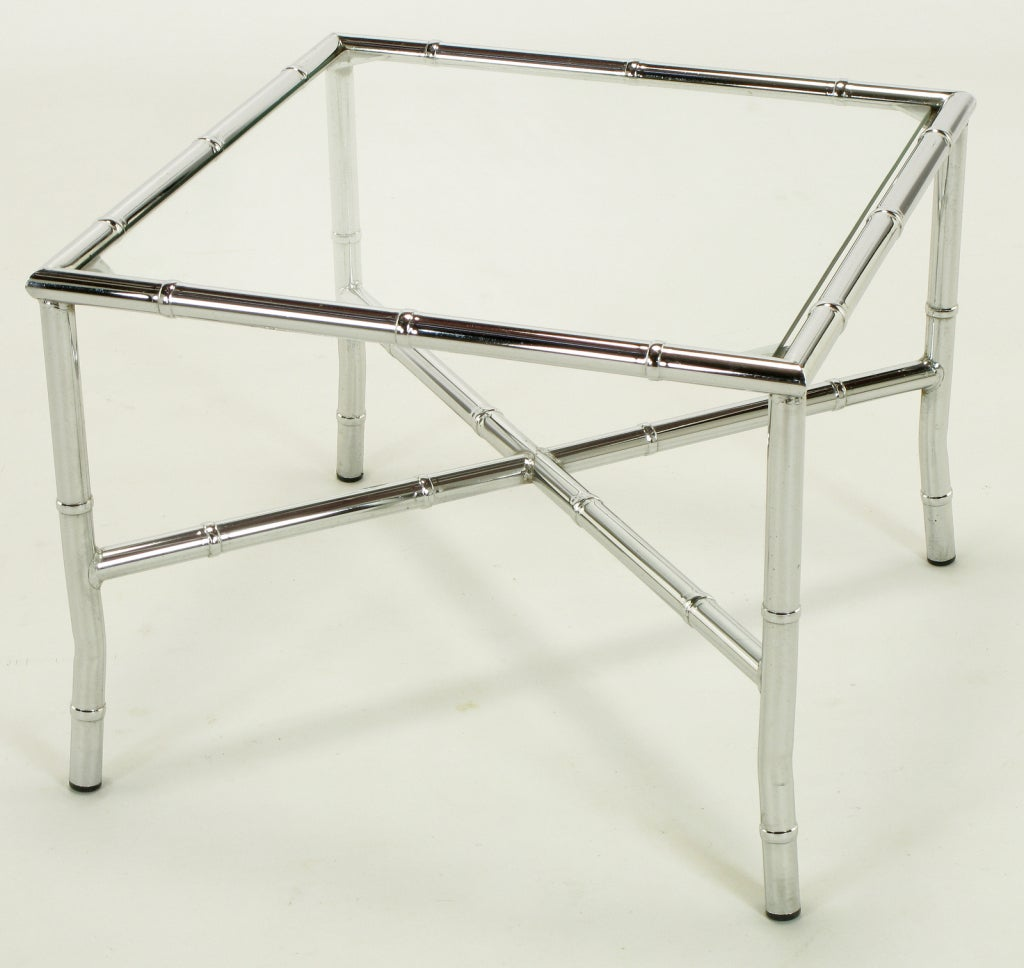 Pair of Chromed Steel Faux Bamboo X-Stretcher End Tables For Sale 1