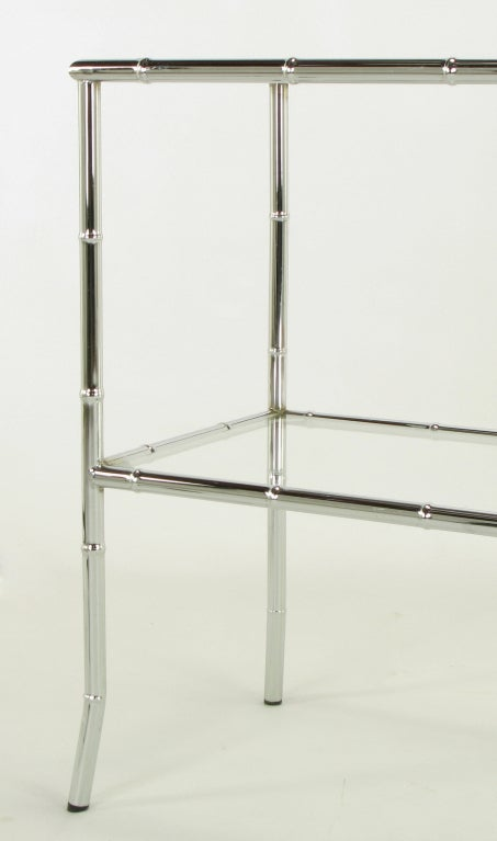 Chromed Steel Bamboo Form Bi-Level Console Table. For Sale 3