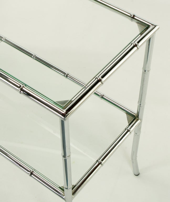 Chromed Steel Bamboo Form Bi-Level Console Table For Sale 4