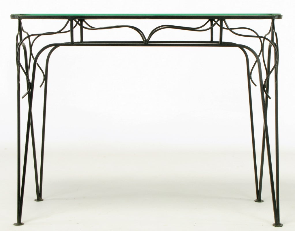 20th Century Salterini Attributed Black Wrought Iron and Mirror Top Petite Console For Sale