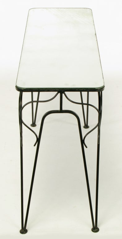 Salterini Attributed Black Wrought Iron and Mirror Top Petite Console For Sale 2