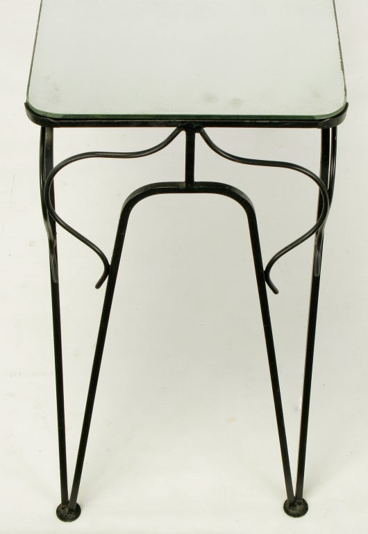 Salterini Attributed Black Wrought Iron and Mirror Top Petite Console For Sale 3