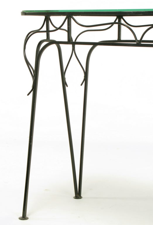 Salterini Attributed Black Wrought Iron and Mirror Top Petite Console For Sale 5