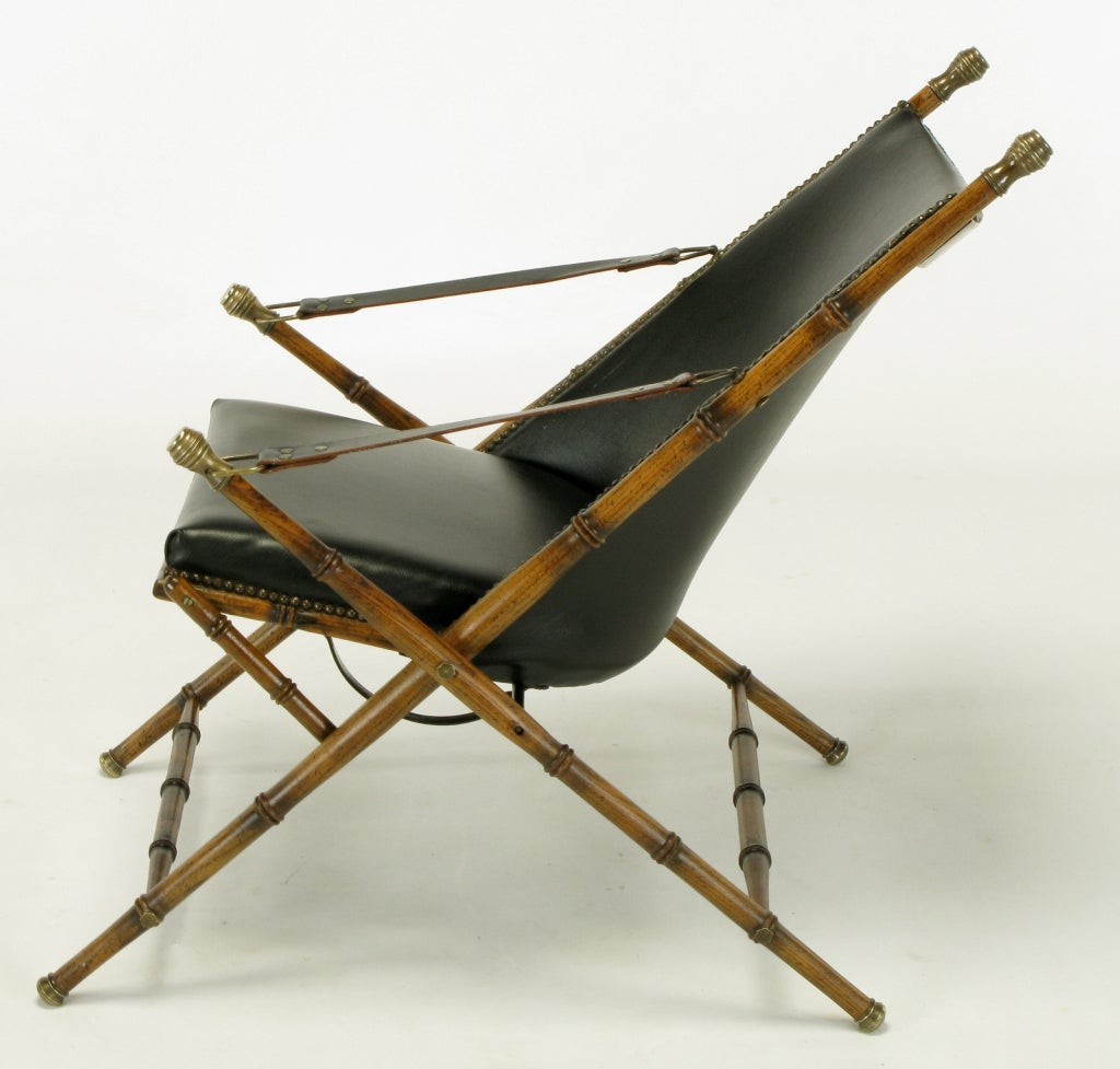 Mid-20th Century Italian Campaign Chair in Black Leather For Sale