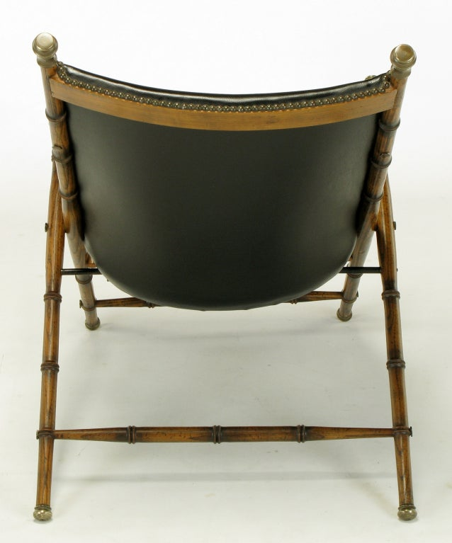 Italian Campaign Chair in Black Leather For Sale 1