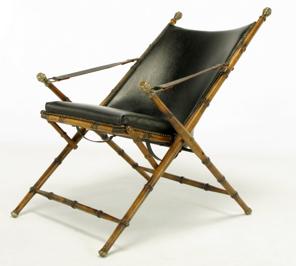 Italian Campaign Chair in Black Leather For Sale 3