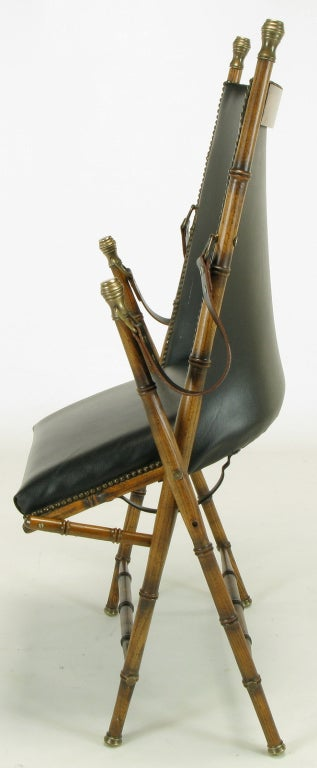 Italian Campaign Chair in Black Leather For Sale 4