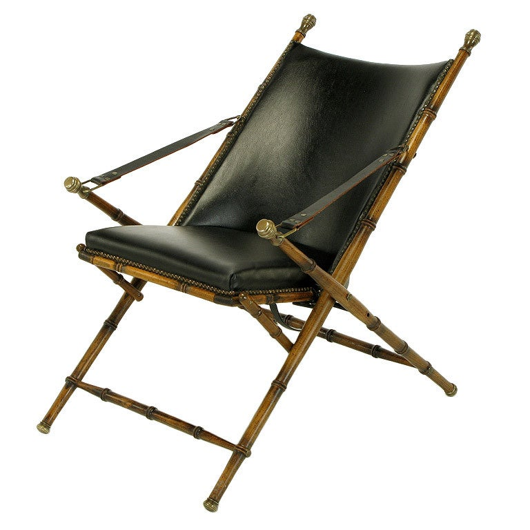 Etonnant Italian Campaign Chair In Black Leather For Sale