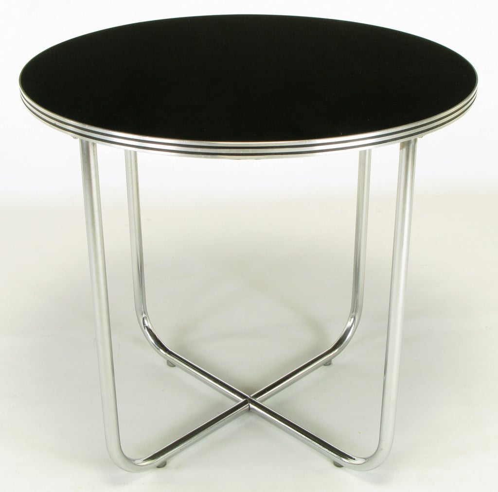 Wolfgang Hoffmann Art Deco Chrome & Black Micarta Center Table In Good Condition For Sale In Chicago, IL