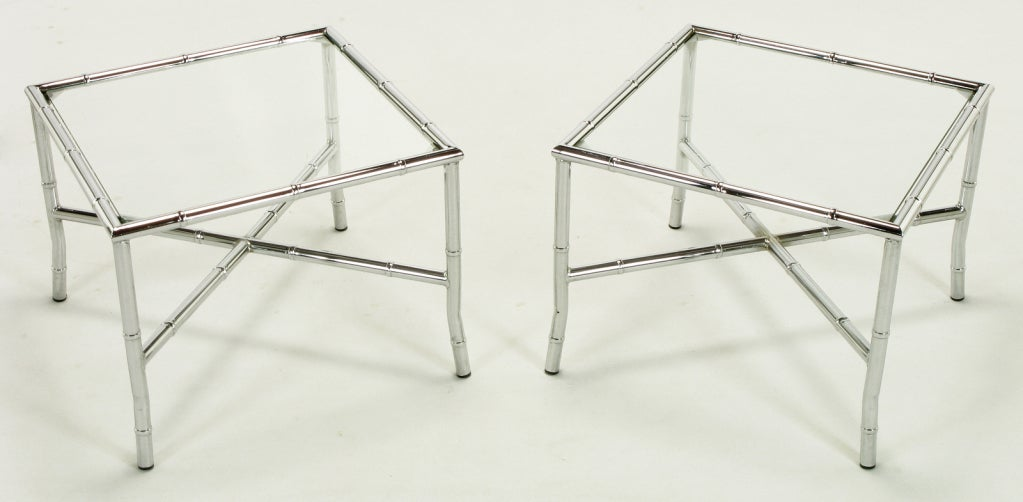 Canadian Pair of Chromed Steel Faux Bamboo X-Stretcher End Tables For Sale