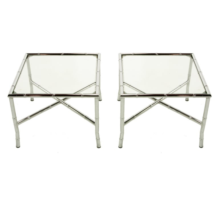 Pair of Chromed Steel Faux Bamboo X-Stretcher End Tables