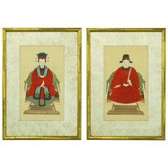 Pair Mirrored Mat & Gilt Framed Chinese Ancestor Portraits