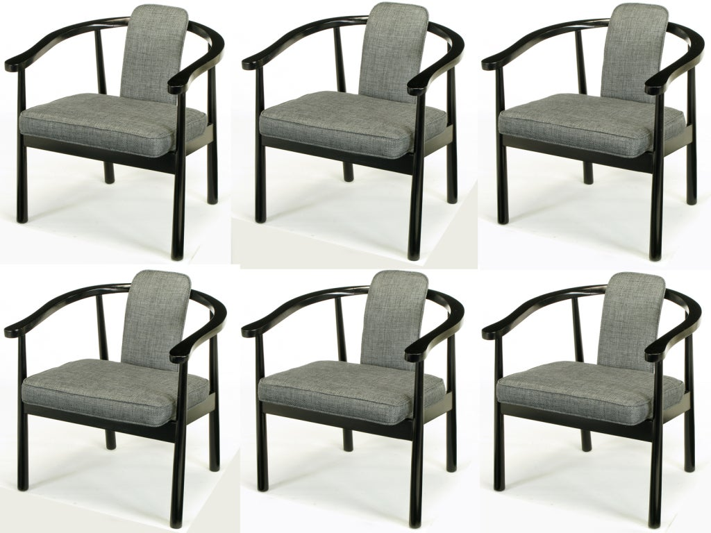 six slate grey linen upholstered and ebonized dining chairs at 1stdibs