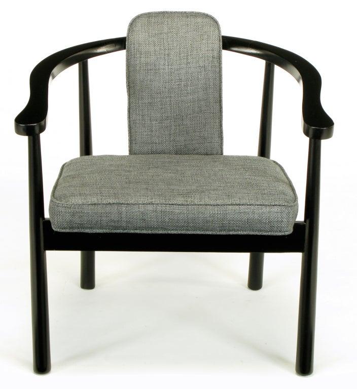 Set six slate grey linen upholstered and ebonized dining for Upholstered linen dining chairs