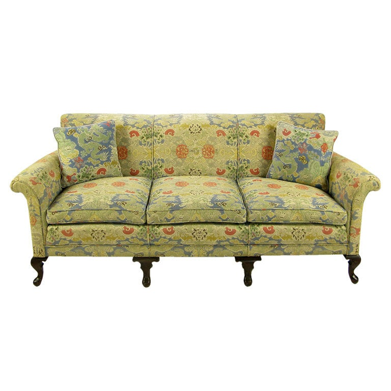 1940s cabriole leg sofa with colorful linen upholstery at