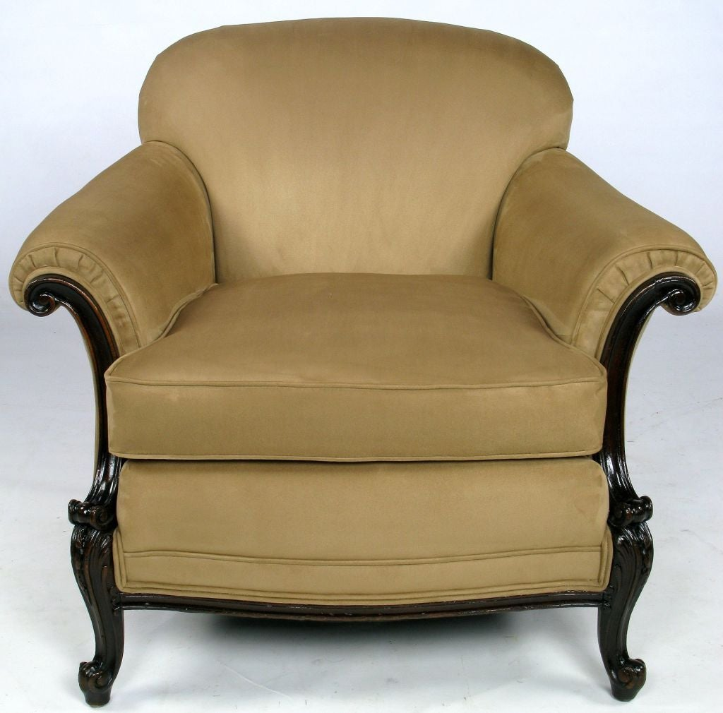 Early 20th Century Rolled Arm Club Chair In Ultra Suede At 1stdibs