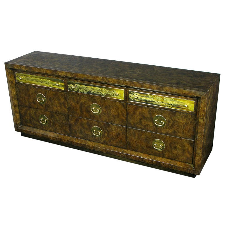 American Mastercraft Burl and Acid Etched Brass Dresser For Sale